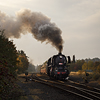Large format, fine art photograph of steam locomotive in head of passenger train. Martin Mojzis.