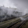 Large format, fine art photograph of steam clouds around historic railway cars. Martin Mojzis.